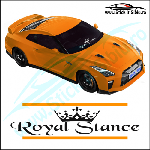 Sticker Central Parbriz-ROYAL STANCE-Model 3 - Stickere Auto
