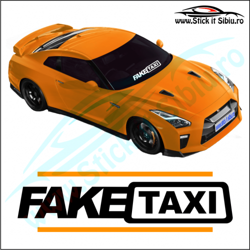 Sticker Central Parbriz-FAKE TAXI - Stickere Auto