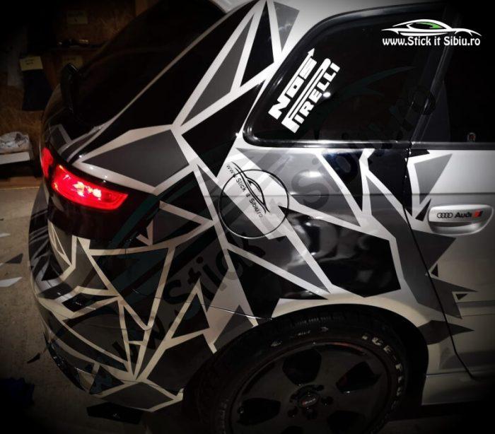 Pachet Camuflaj Geo Winter Prime V4 + Set 2 Dungi Racing - Stickere Auto