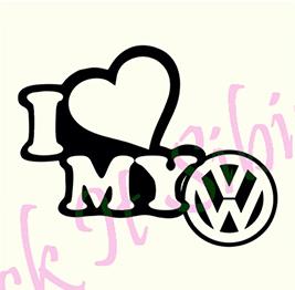 I Love My Volkswagen - Stickere Auto